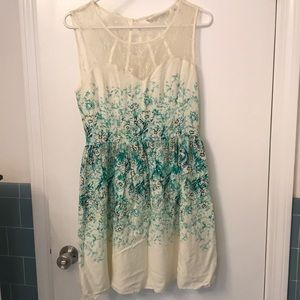 Green and cream floral dress